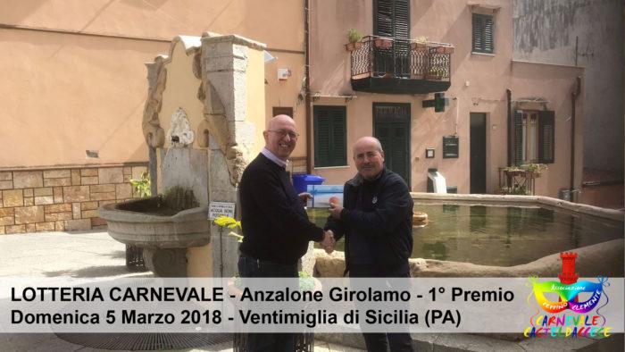 Lotteria di Carnevale - 1° Anzalone Girolamo